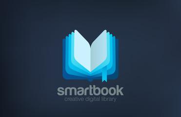 Open Book Logo design vector template abstract...Digital Library