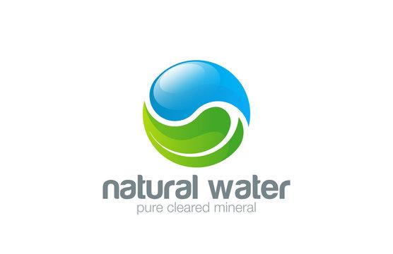 Water drop Leaf Logo design vector template. Yin Yang concept...