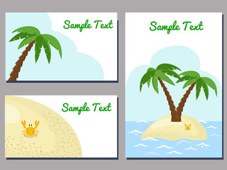 set of cards templates with tropical island image