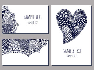 set of cards templates with zentangle hand drawn ornament