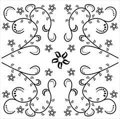 black and white ornament, the ornament on white background