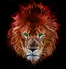 Fractal digital fantasy art of a lion on a isolated background