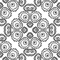 Seamless background made of exotic pattern in black and white co