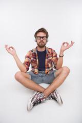 Bearded man meditating