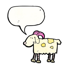 cartoon goat with thought bubble