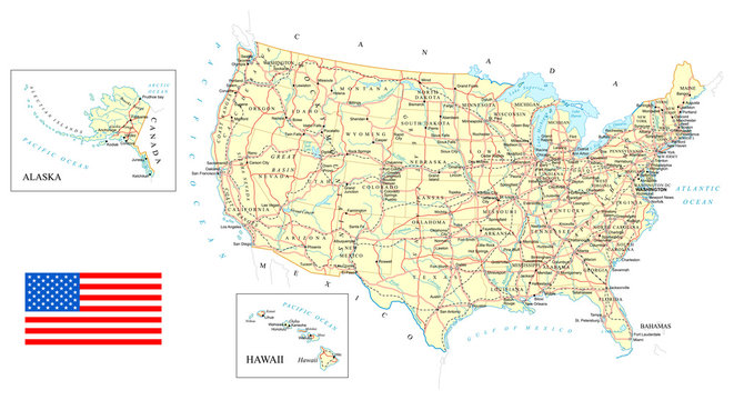 USA - detailed map - illustration.Map contains topographic contours, country and land names, cities, water objects, roads, railways.