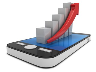 3d white bar graph with red arrow on smartphone