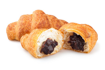 croissants on a white background, croissants with chocolate filling on a white background, croissants with chocolate on a white background