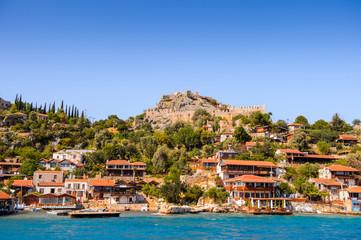 Kalekoy village (Simena)  with the Byzantine castle in the center, Turkey