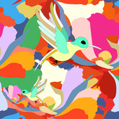hummingbirds, seamless pattern