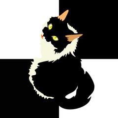 art cat, black and white