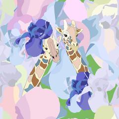 Couple romantic giraffes in flowers, seamless pattern