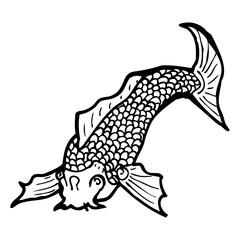 black and white japanese fish tattoo
