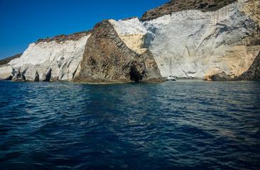 Picturesque rocks near coast of island Milos, Greece
