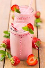 Milkshake with fresh strawberries