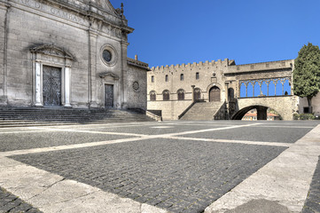 In de dag Monument Viterbo Piazza Cathedral Saint Lawrence and Papal Palace