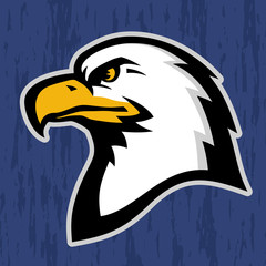 Stylized illustration of American eagle (bald eagle) head profile.