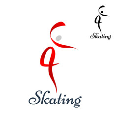 Figure skating symbol on white