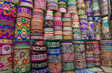 Pile of cloth fabrics at a local market in Bangladesh.
