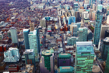 Aerial view of a cluster of Toronto office buildings