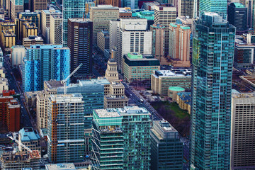 An Aerial view of a cluster of Toronto office buildings