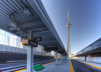 A view of the rail lines in downtown Toronto