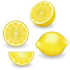 Lemons, fresh, natural, organic fruit, whole, half, slice, wedge, isolated on white background