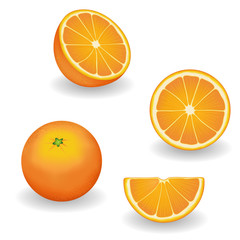 Oranges, fresh, natural, organic fruit, whole, half, slice, wedge, isolated on white background