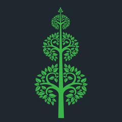 tree symbol with Thai art style isolated on dark background