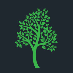tree symbol with Thai art style isolated on dark background
