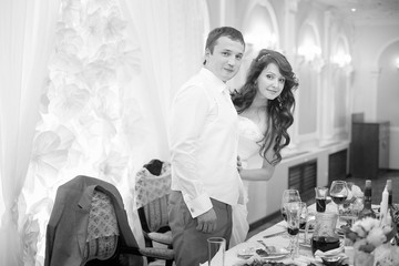 black and white portrait of the bride and groom wedding