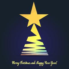Christmas tree from ribbon, polygonal design