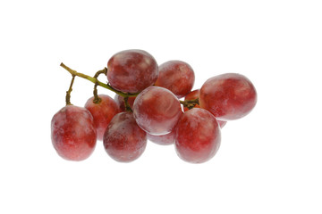 Ripe red grapes,isolated on white background.