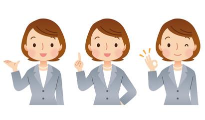 スーツを着た女性 表情 ポーズ セット