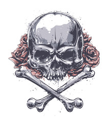 Wall Murals Watercolor Skull Grunge Skull