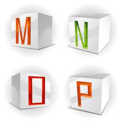 Vector cube alphabet letters M,N,O,P
