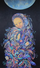 Maternity. Madonna with Child. Beautiful acrylic painting on canvas of woman in foliage clothes with baby, under the fool moon on a black background. Hand drawn portrait. Leaf pattern. Interior decor.