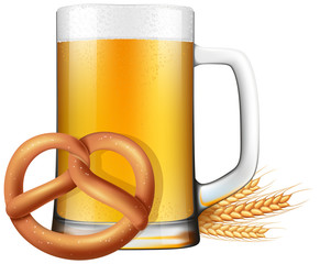 Oktoberfest style beer and pretzel illustration with ripe barley on the side.