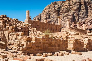 Great temple complex in Petra (Rose City), Jordan. The city of Petra was lost for over 1000 years. Now one of the Seven Wonders of the Word