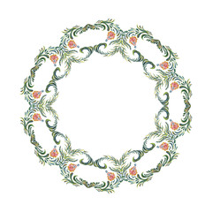 Ukrainian wreath. Vector floral frame. Floral wreath. Hand drawn illustration