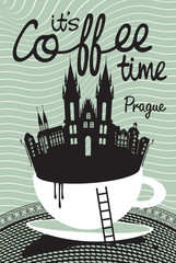 drawing with a cup of coffee on Prague