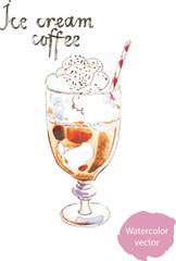 Watercolor coffee ice cream
