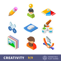 Isometry creative flat icon set. Set the creator for employment by art. Сreative tools and materials for hobby, creative people in favorite profession