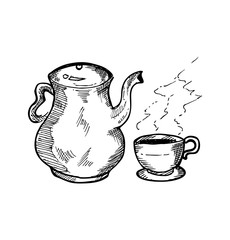 hand drawn tea pot and tea cup
