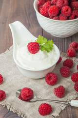 fresh natural yogurt with raspberries