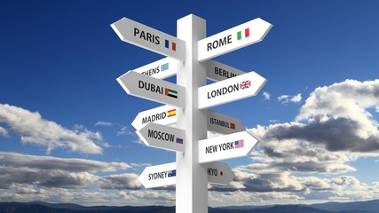 White signpost with various city names on blue sky background