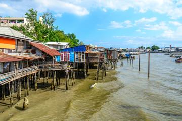 Thai traditional house, vilage riverfront in Bangkok thailand.