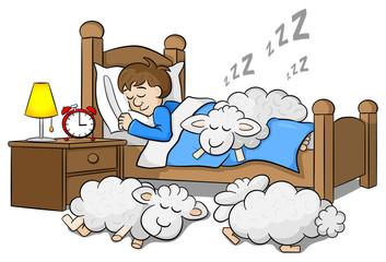 Mann und seine Schäfchen schlafen ein