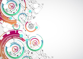 Abstract color background with various technological elements.