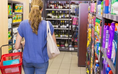Rear view of woman doing shopping